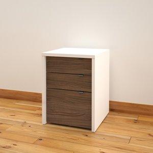 Liber-T Filing Cabinet -3-Drawer- White/Walnut