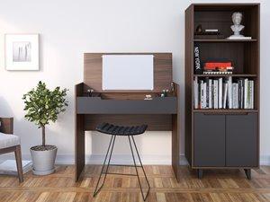 Alibi Home Office Set - 4 Pieces - Walnut/Charcoal