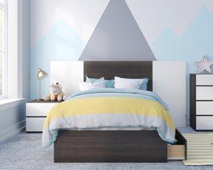 Polar Twin Bedroom Set- 4 Pieces - Ebony