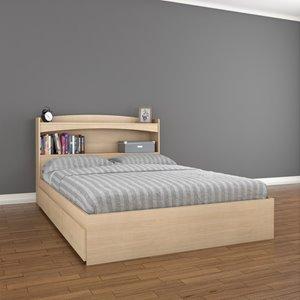 Alegria Full Storage Bedroom Set -  2 Pieces - Maple
