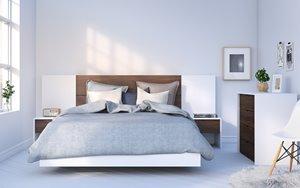 Celebri-T Queen Bedroom Set - 6 Pieces - White/ Walnut