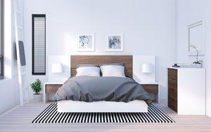 Celebri-T Full Bedroom Set - 6 Pieces -White/Walnut