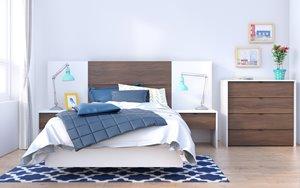 Celebri-T Twin Bedroom Set - 6 Pieces - White/Walnut