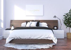 Denali Queen Bedroom Set - 4 Pieces - Walnut/White