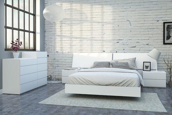 Ens. de chambre à coucher District grand lit, 6 mcx, blanc