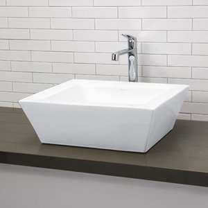 Vasque avec trop-plein Kloey, carré, blanc