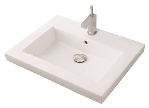 Chloe Semi-Recessed Bathroom Sink - Rectangular - White