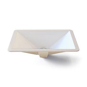 Amabella Undermount Sink with Overflow - Rectangular - White