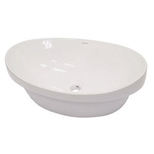 Andra Above Semi-Recessed Sink with Overflow - Oval - White