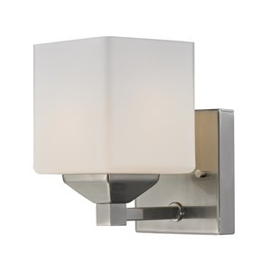 Quube Vanity Light - 1-Light - Brushed Nickel