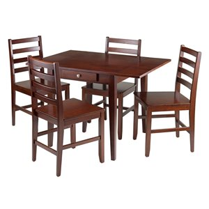 5-Piece Drop Leaf Dining Table - 4 Chairs