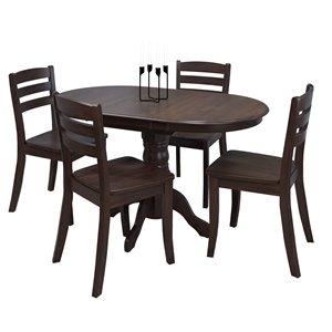 Ensemble de salle à manger extensible, bois,cappuccino, 5mcx