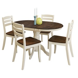 Extendable Solid Wood Dining Set - Dark Brown/Cream - 5 pcs