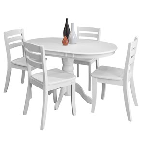 Extendable Wooden Dining Set - White - 5 pcs