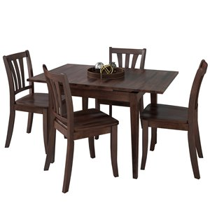 Extendable Solid Wood Dining Set - Cappuccino - 5 pcs