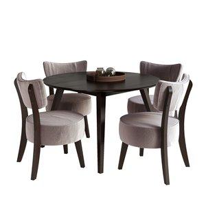 Ensemble de salle à manger Atwood, brun/velours gris, 5 mcx