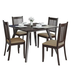 Dining Set with Microfiber Chairs - Cappuccino/Beige- 5 pcs