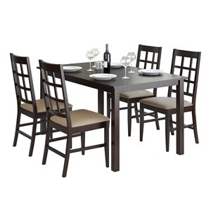 Dining Set with Leatherette Seats - Cappuccino/Taupe- 5 pcs