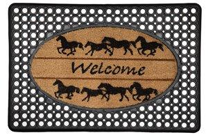 Welcome Horses Door Mat - Rubber/Printed Coco - 20''x 30''