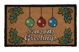 Seasons Greetings Printed Coco Door Mat - 18'' x 30''