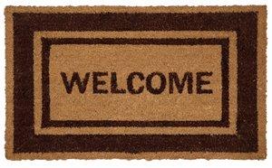 Welcome Printed Coco Door Mat - Brown Border - 18''x 30''
