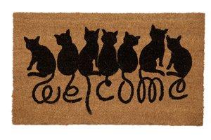 Welcome Cats Printed Coco Door Mat - 18'' x 30''