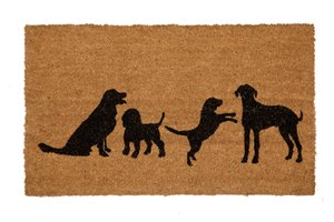 Four Dogs Printed Coco Door Mat - 18'' x 30''
