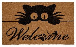 Peeking Cat Printed Coco Door Mat  - 18'' x 30''