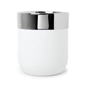 Bathroom Waste Basket  - Chrome/White