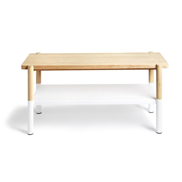 Umbra 32.56-Lbs 18.25-In x 14.50-in x 39-in White/Natural Wooden Storage Indoor Bench