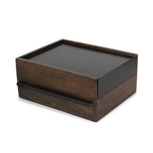 Umbra Stowit 4.63-in x 8.88-in x 10.25-in Black Walnut Jewelry Box