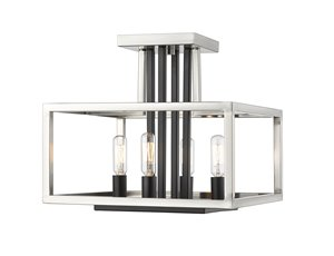 Quadra Flush Mount - 4 Light - Brushed Nickel + Black