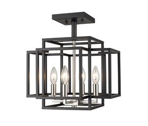 Semi-plafonnier Titania, 4 lumières, Noir/Nickel brossé