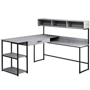 Computer Desk  - Grey/Black