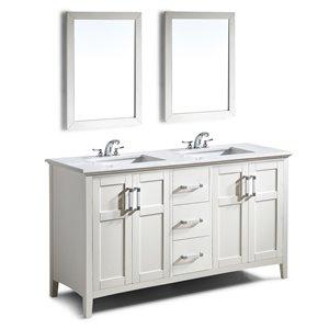 Meuble-lavabo Winston, marbre quartz blanc, 60