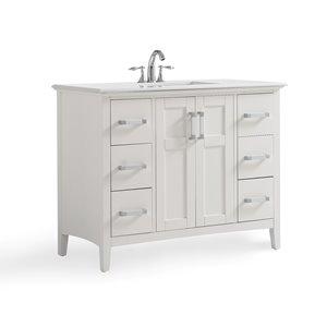 Meuble-lavabo Winston, marbre quartz blanc, 42
