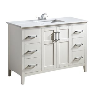 Meuble-lavabo Winston, marbre quartz blanc, 48