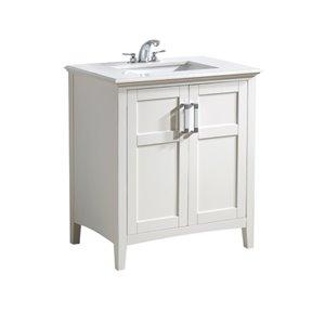 Meuble-lavabo Winston, marbre quartz blanc, 30