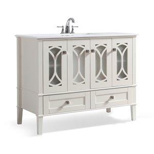 Meuble-lavabo Paige, marbre quartz blanc , 42