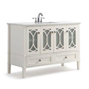 Meuble-lavabo Paige, marbre quartz blanc, 48