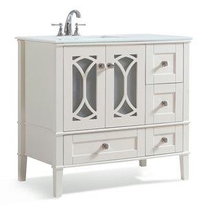 Meuble-lavabo Paige, marbre quartz blanc, 36