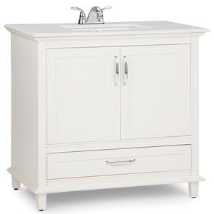 Meuble-lavabo Ariana, marbre quartz blanc, 36
