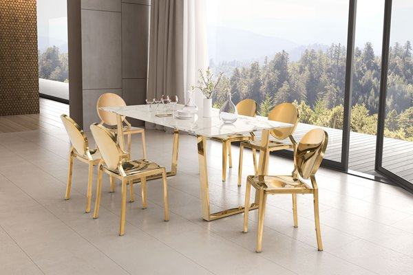 Zuo Modern Atlas Dining Table - 70.9-in x 29.7-in - Faux Marble - Gold Frame