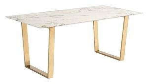 Table de salle à manger Atlas de Zuo Modern, 70,9 po x 29,7 po, effet de marbre, structure dorée