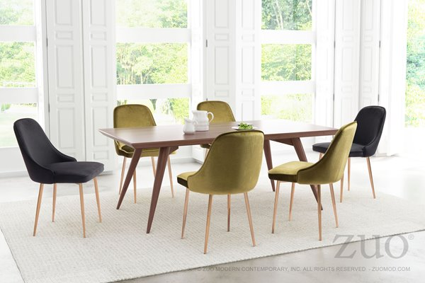 Chaise de salle à manger Merritt de Zuo Modern, 20,1 po, velours noir, ens. de 2