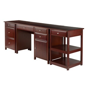Delta Home Office Set - Wood - Walnut - 3 Pieces