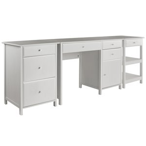 Delta Home Office Set - Wood - White - 3 Pieces