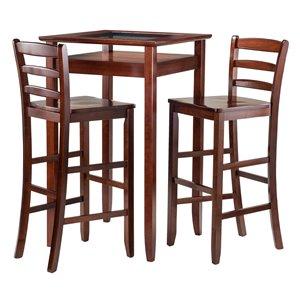 Ens. de table Halo, tabourets, bois, noyer, 3 pièces