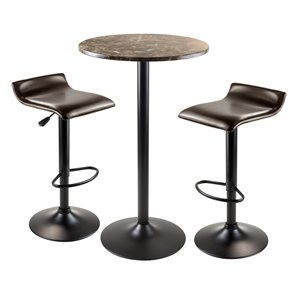 Cora Dining Set - Faux Marble - Brown - 3 Pieces