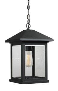 Luminaire suspendue extérieure à 1 lumière Portland, noir